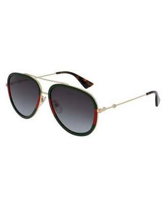 Gucci Web Aviator Sunglasses, Green/Red/Green $400 thestylecure.com