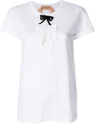 No.21 ruffle front T-shirt