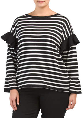 Plus Striped Bell Sleeve Top