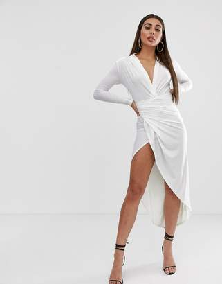 John Zack plunge front ruched maxi dress in white