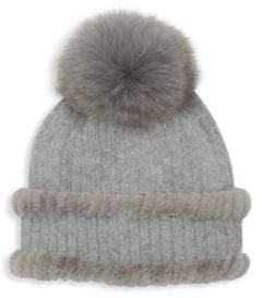 Glamour Puss Glamourpuss Fox& Rabbit Fur-Trim Knit Angora Hat