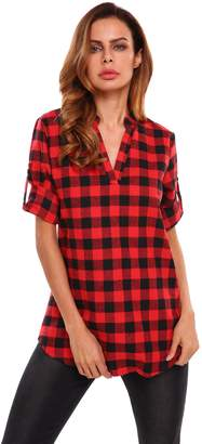Meaneor Women's 3/4 Cuffed Sleeve V-Neck Pullover Plaid Top T-Shirt Blouse