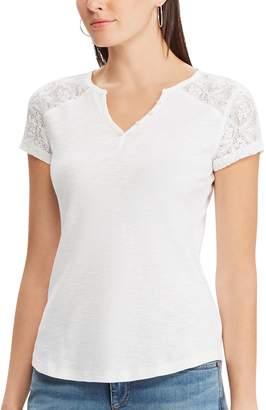 Chaps Women's Lace Sleeve Tee