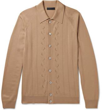 Prada Slim-Fit Laser-Cut Virgin Wool Cardigan