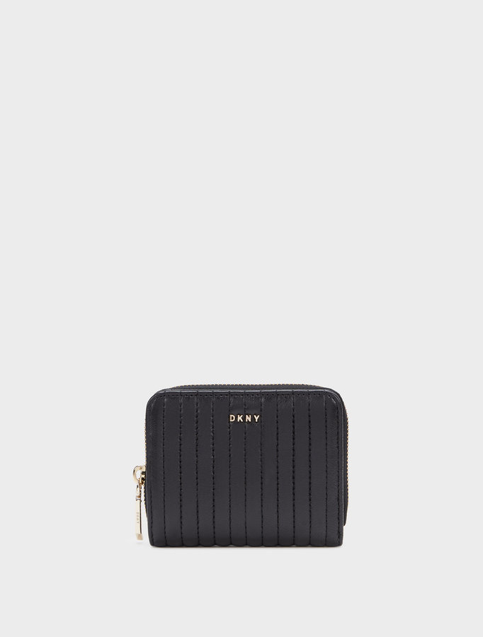 DKNYSmall Quilted Lamb Nappa Pinstripe Carryall Wallet