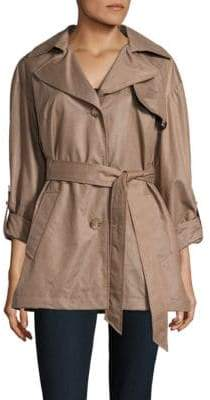 Ellen Tracy Chintz Trench Waist-Tie Coat