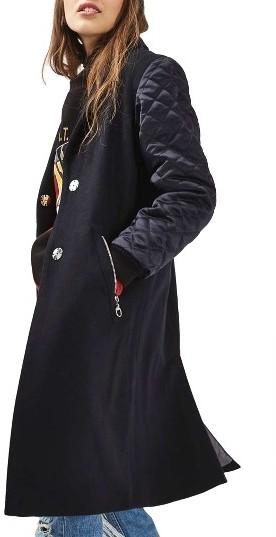 TopshopWomen's Topshop Quilted Sleeve Wool Blend Coat