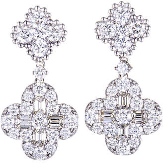 Odelia 18K White Gold Dangle Flower Earrings