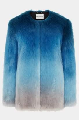 Mary Katrantzou Thalia Faux Fur Jacket Ombre Blue