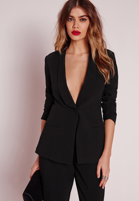 Fitted Tailored Suit Blazer Black $68 thestylecure.com