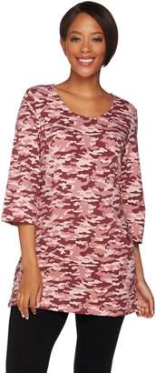 Denim & Co. Active Camo Printed Scoop Neck 3/4 Sleeve Tunic