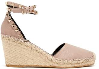 Valentino Rockstud Leather Espadrilles - Womens - Nude