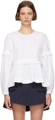 ALEXACHUNG White Drop Hem Blouse
