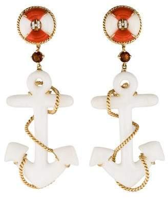 Helen Yarmak 18K Coral, Quartzite & Multistone Anchor Drop Earrings