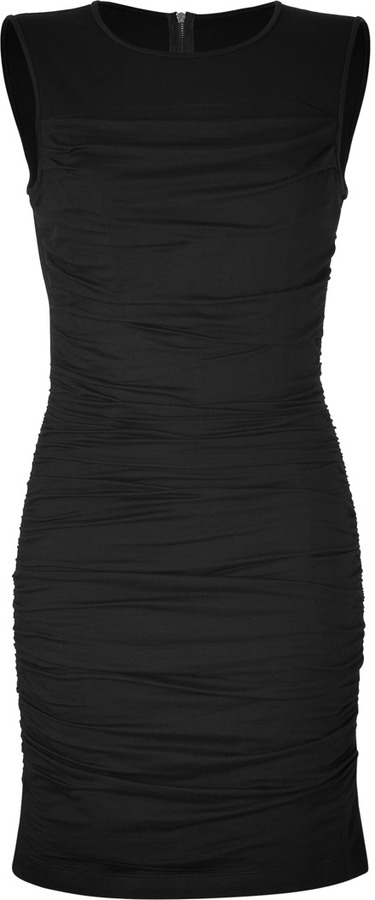 DKNY Black Ruched Dress