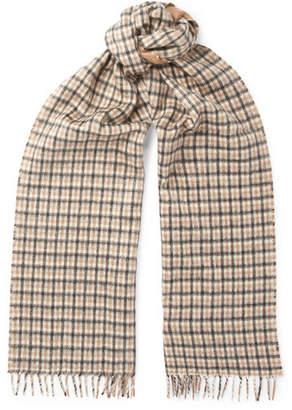 Prada Checked Silk And Cashmere-Blend Scarf