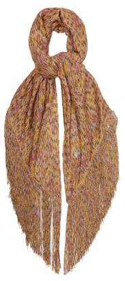 Missoni Patterned Knit Fringed Shawl - Womens - Gold