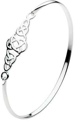 Heritage Womens Sterling Silver Celtic Cross Over Knot Bangle 7230HP