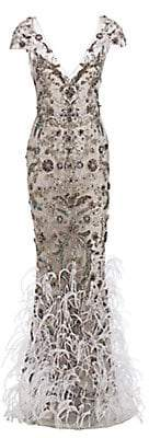 Marchesa Women's Feather Embellished Tulle Gown