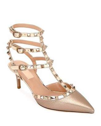 Valentino Rockstud Metallic Pointed Ankle Pumps