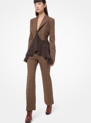 Michael Kors Glen Plaid Wool Spencer Jacket
