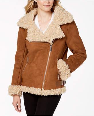 Michael Kors Faux-Fur-Lined Moto Coat