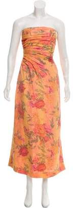 Carmen Marc Valvo Printed Evening Dress