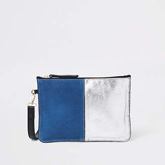 River Island Blue leather pouch clutch bag