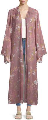 Tularosa Prima Floral-Print Long Kimono