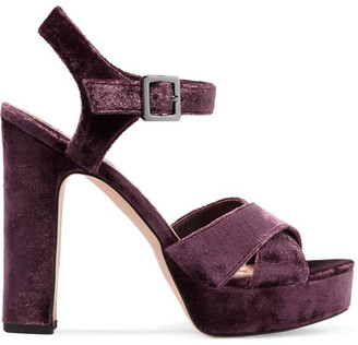 Sam Edelman - Arlene Velvet Platform Sandals - Grape $160 thestylecure.com