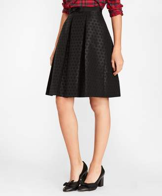 Brooks Brothers Polka-Dot Jacquard Pleated Skirt