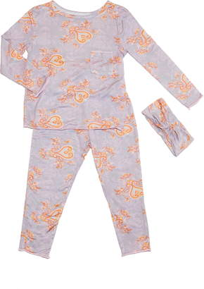 Baby Grey Charlie Fitted Two-Piece Pajamas & Head Wrap Set