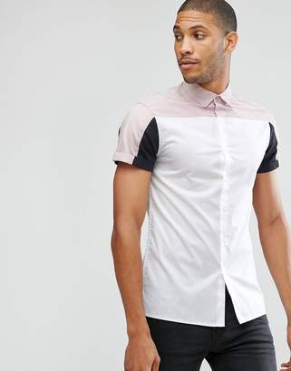 Asos Design DESIGN skinny fit cut and sew shirt with pink and black panels