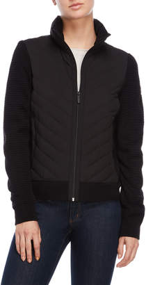 MICHAEL Michael Kors Black Knit Sleeve Ultra Lightweight Down Jacket