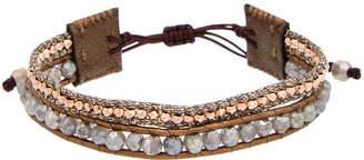 Chan Luu Rose Gold Over Silver & Silver Labradorite Leather Adjustable Bracelet