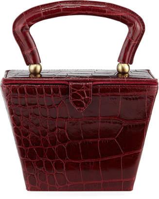 Staud Sadie Crocodile-Embossed Box Top Handle Bag