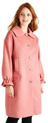 Yumi Orange Coat With Ruffle Cuffs