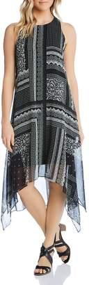 Karen Kane Sleeveless Scarf-Print Handkerchief-Hem Dress