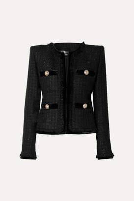 Balmain Velvet-trimmed Metallic Tweed Blazer - Black