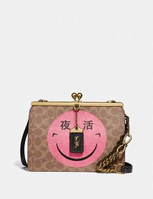 Coach Double Frame Bag In Signature Canvas With Rexy By Yeti Out