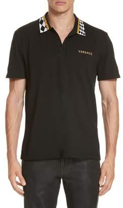 Versace First Line Check Collar Pique Polo