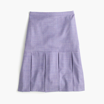 J.CrewBox-pleated skirt in wool flannel