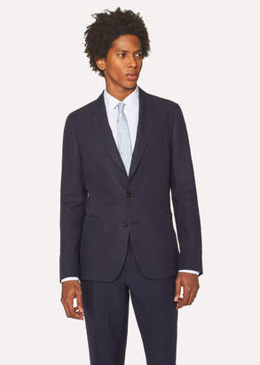 Paul Smith Men's Tailored-Fit Dark Navy Unlined Linen Blazer