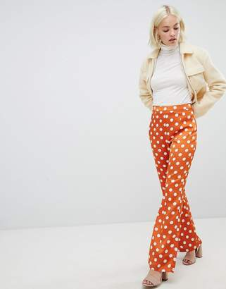Glamorous kick flare pants in spot satin