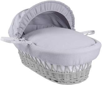 Clair De Lune Waffle White Wicker Moses Basket