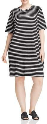 Eileen Fisher Plus Striped Organic Linen Dress
