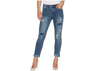 Tribal Five-Pocket 28 Ripped and Repaired Boyfriend Jeans in Deep Indigo Women's Jeans