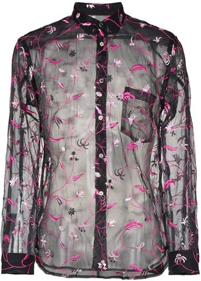 Comme des Garcons floral embroidered poly sheer shirt