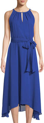 Tahari ASL Halter-Neck Belted Chiffon A-Line Dress