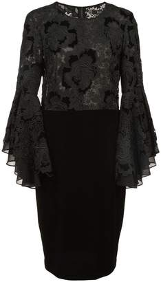Badgley Mischka lace ruffle sleeve cocktail dress